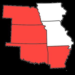 Heatland Chapter Map - Nebraska, Kansas, Oklahoma, Arkansas